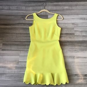 Yellow neon peplum dress
